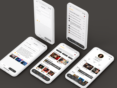 Music App videos musician notifications create post search results recording profile music