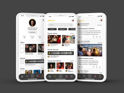 Music App video musicapp bullets bulletin soundwave recording music search profile mobile app