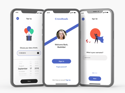 Daily UI #1  / Crossroads (Dating App - Sign Up Pages) date of birth username sign up form sign up dating app datingapp mobile app daily ui dailyui
