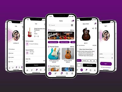 Guitar Sale App instrument design profile ui design uiux mobile apps search bar cart mobile design mobileux graphic design mobileuiux mobile ui mobile app mobile guitars guitar