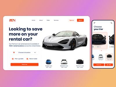 Car rental services - Landing page and Mobile view Concept ui design ux design ui website mobile mobile design web design design car rental