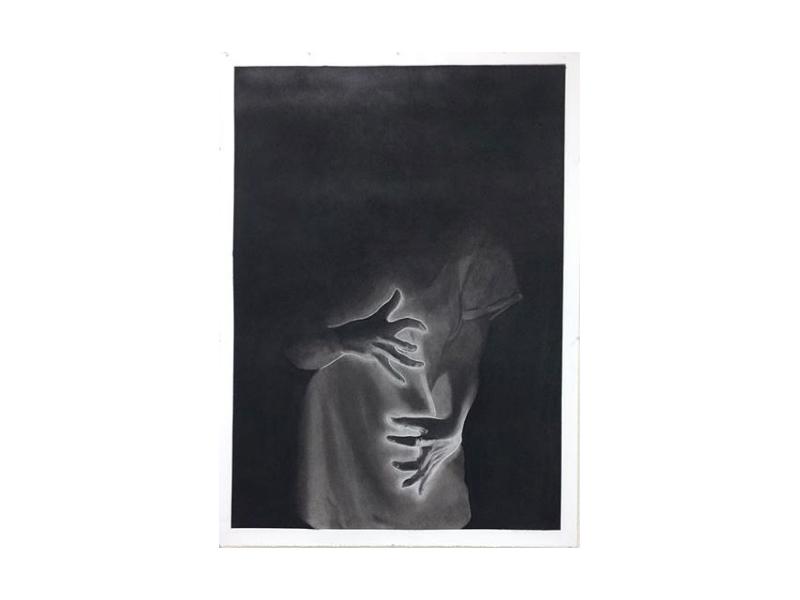 Hand Drawn Illustration black and white hand drawn lady horror scary gloomy dark illustration