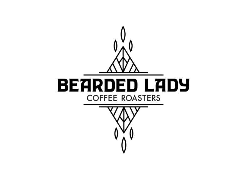 Bearded Lady secondary logo black and white branding coffee company coffee roaster coffee wordmark logomark mark logo