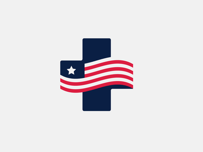 health america colors usa medical cross america flag healthcare health branding design icon simple logo