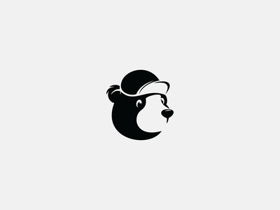bear icon design hat cute bear branding vector animal negative space black simple logo