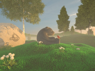 bird and bear forest friends nature bird bear render 3d modeling 3d