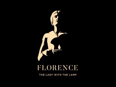 FLORENCE illustration candle lamp lady nursing negative space logo