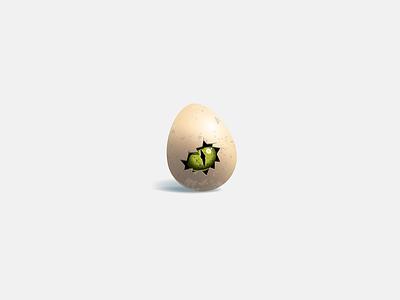 hello crack green eye egg vector illustration animal logo