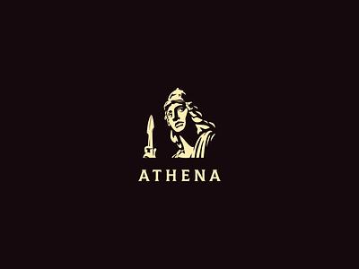 Athena character greek goddess statue athena illustration negative space black logo
