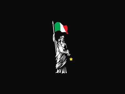 Italia Turrita europe flag statue italy design illustration logo
