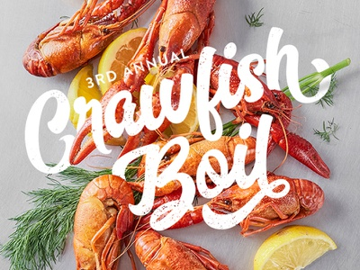 Crawfish Boil Party photography graphic design typography