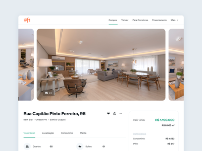 Apartament Detail Page loft visual design landing page real estate ui ux