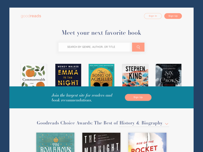 Goodreads Landing Page landing page daily ui goodreads