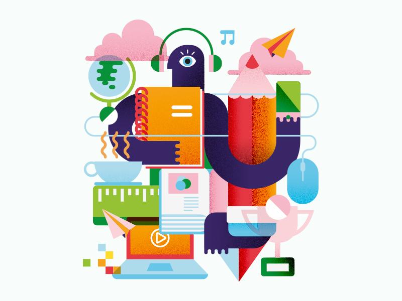 Multi Person alexandre fontes pencil coffee smartphone colours student university school textured flat geometric illustration