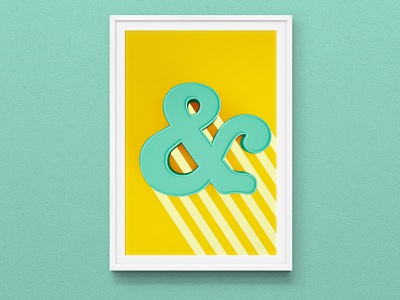 Ampersand Poster fun colour lettering yellow print ampersando letter type poster