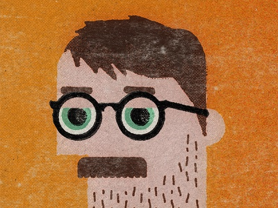 Self Portait vintage designer man flat minimal character cartoon geometric texture illustration portait