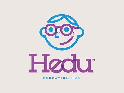 Hedu Logo education multiply slab serif logotype app student nerd boy personagem character design logo