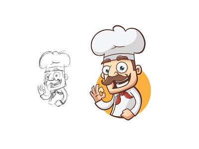 Chef character cooking food logo mascot character chef