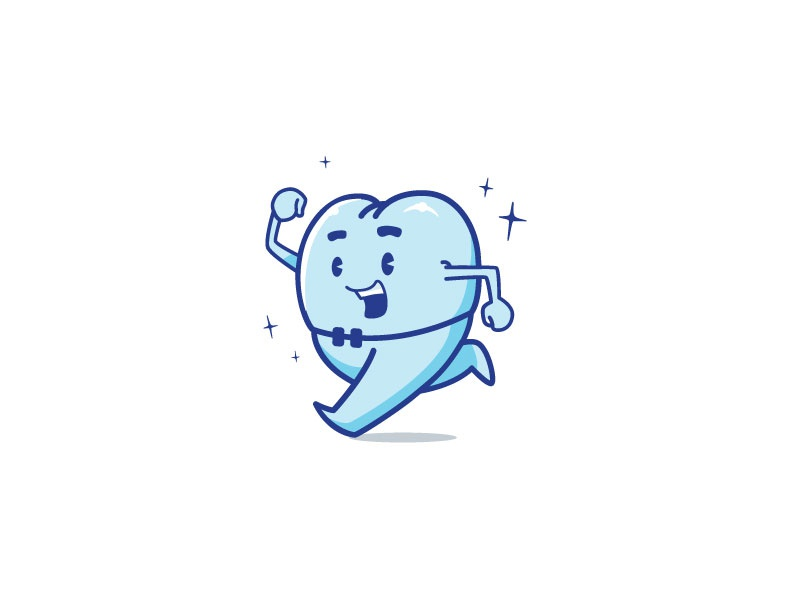 Running tooth  brand logo dental happy blue character tooth running