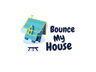 Bounce My House home logo playful blue fun trampoline bounce house