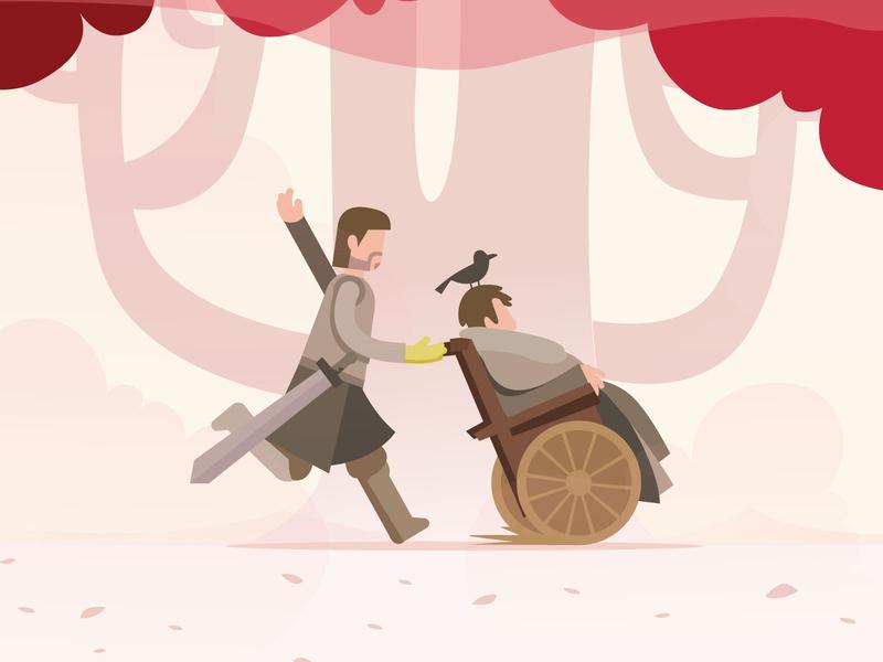 Got1 : the things I do for love red tree wheelchair happy stark brandon lannister jaime thrones games got 2d art