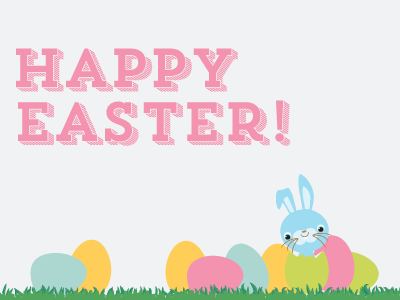 Easter Happiness  happy easter bunnies eggs grass blue
