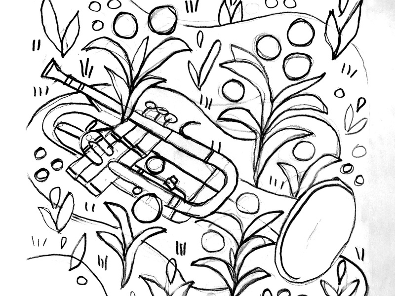 🎺 Sketch sketch flowers horn spring instrument music