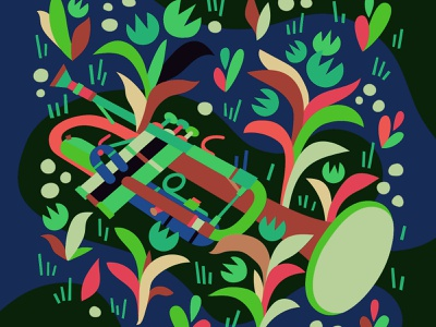 🎺 Shapes flowers horn spring music