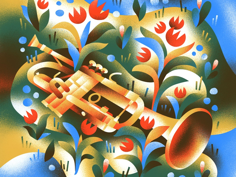 🎺 Colored In flowers instrument horn spring music
