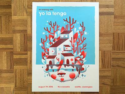 Yo La Tengo Poster show poster gig poster yo la tengo gigposter poster underground house tree trees illustration