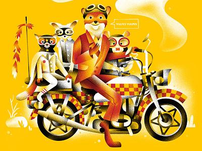 Mr. Fox motorcycle red yellow fantastic mr. fox movie fox