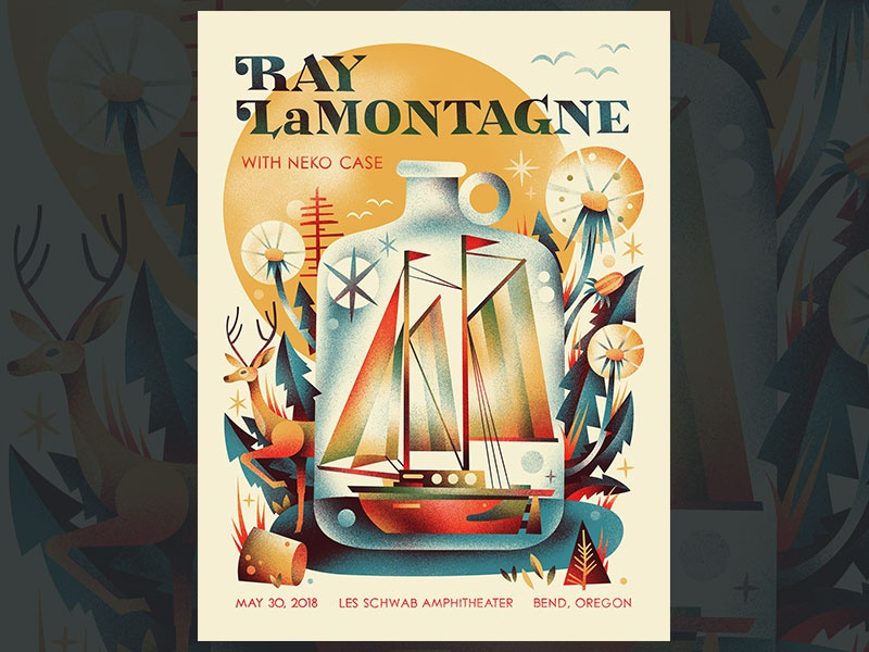 Ray LaMontagne ray lamontagne gig poster poster ship in a bottle bottle ship boat