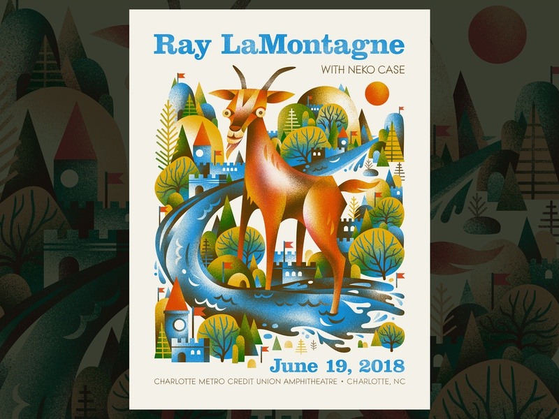 Ray LaMontagne - Charlotte NC castle ray lamontagne gig poster river goat poster
