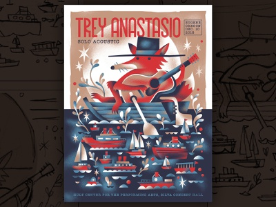 Trey Anastasio Poster ships boat fox gig posters show poster phish gig poster trey anastasio