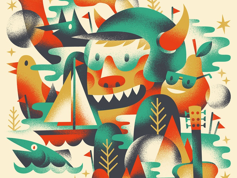 ⛵️🌝🎸🐟🍐 gig poster poster nature illustration