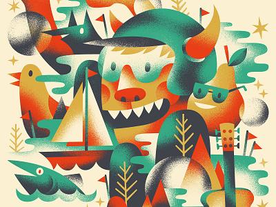 ⛵️🌝🎸🐟🍐 gig poster poster nature illustration