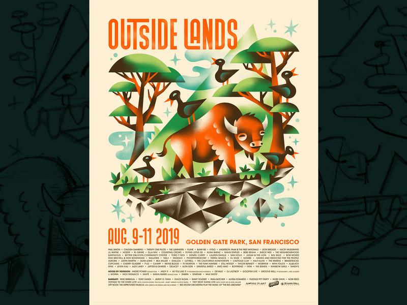Outside Lands 🐃🌳✨ festival poster festival poster buffalo bison gig poster