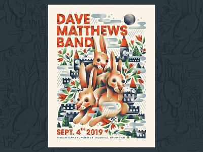 Dave Matthews Band 🐰🐰🐰 show poster bunnies rabbit flowers moon castle bunny rabbits dave matthews band gig poster