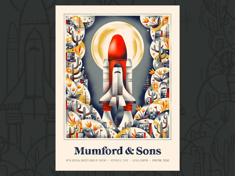 Mumford & Sons 🚀 🌝 moon space ship space shuttle rocket gig poster
