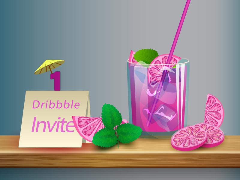 1 Dribbble Invite design vector invite illustration
