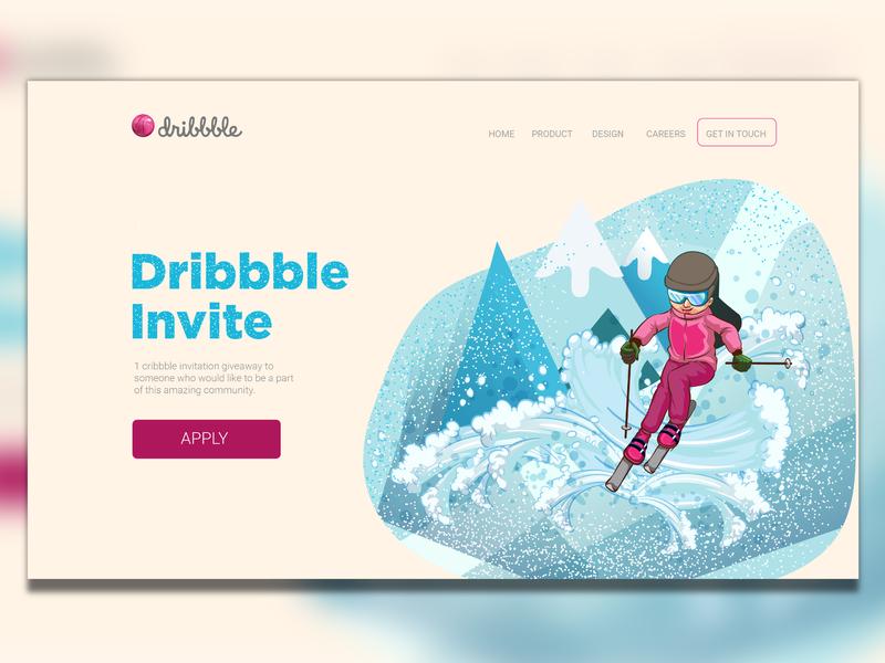 Dribbble Invite ui art digital webdesign web activity apply giveaway dribbble invite fun sking winter sports illustration player future invite