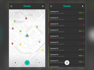 Map- and Listview for SmokyApp interface smoky icon map list