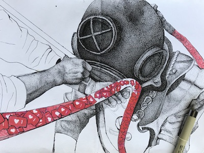 Disconnect in Progress design illustration dotwork pen sketchbook wip disconnect social media deep sea diver