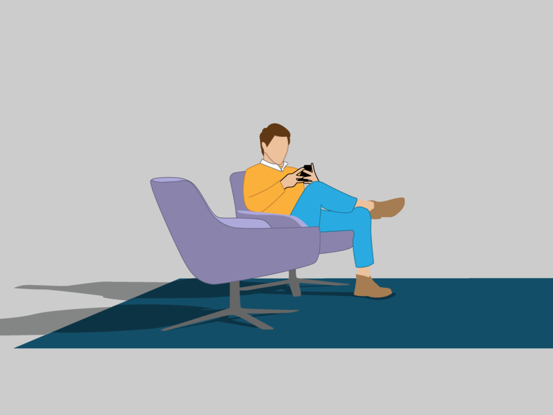 Hurry Up and Wait phone man rug chair design a day icondesign minimal simple vector illustrator drawing blue pen art illustration design