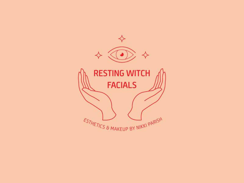 Resting Witch Facials Logo line art esoteric hands eye pink red graphic design drawing logo design logo type pen art design