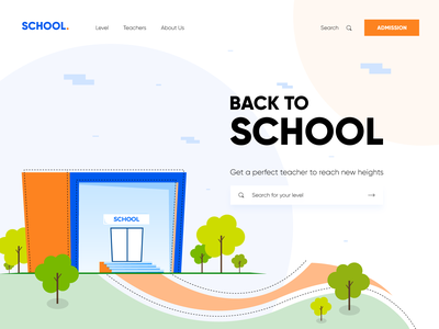 School Landing Page-Header Illustration vector ui visual design identity branding identity design 2020 website design web landing page ui header ui art educational education website clean ui minimal learning landing page design illustraion education