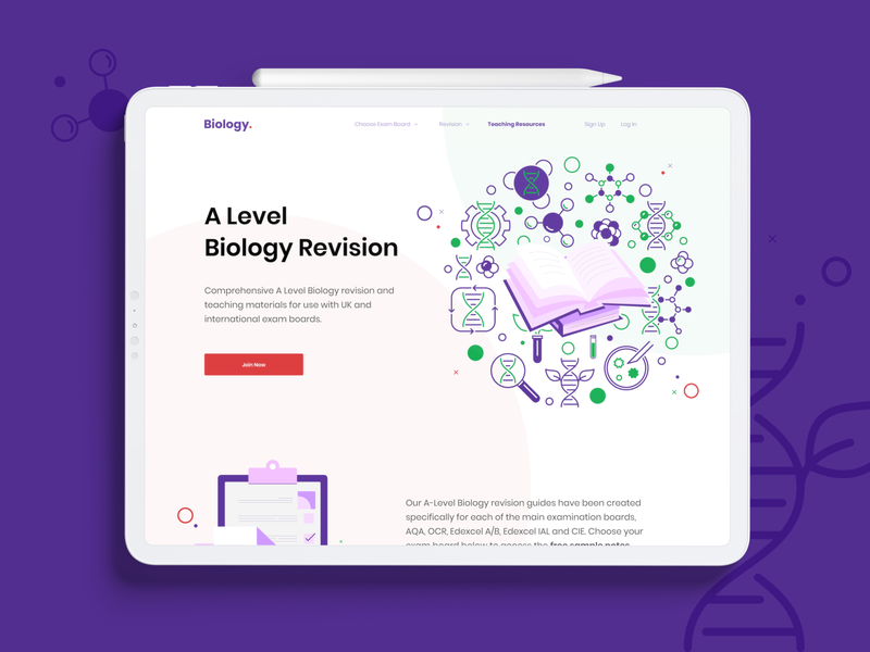 A-Level Biology Header material teaching materials biology resource creative design clean teaching vector education website educational website web ui minimal revision a leve biology design creative learning education