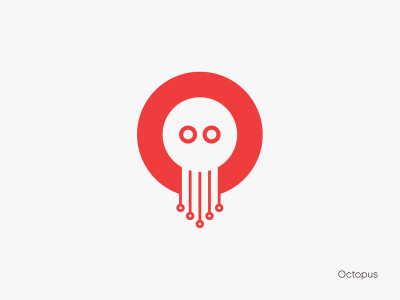 Octopus logotype logo icon negative space typographic agency clean colors red visuals simple modern octopus design branding agency branding brand