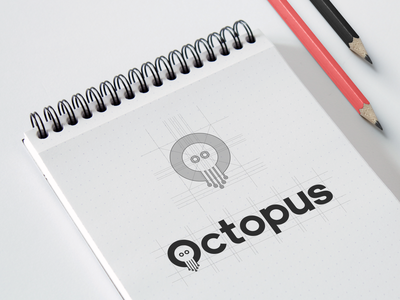 Octopus Sketches Drawn Grid clean style raw brand agency negative space logotype sktech rounded sharp shape logo mark final logotype option grid drawn color pallete identity branding project brand identity exploration branding