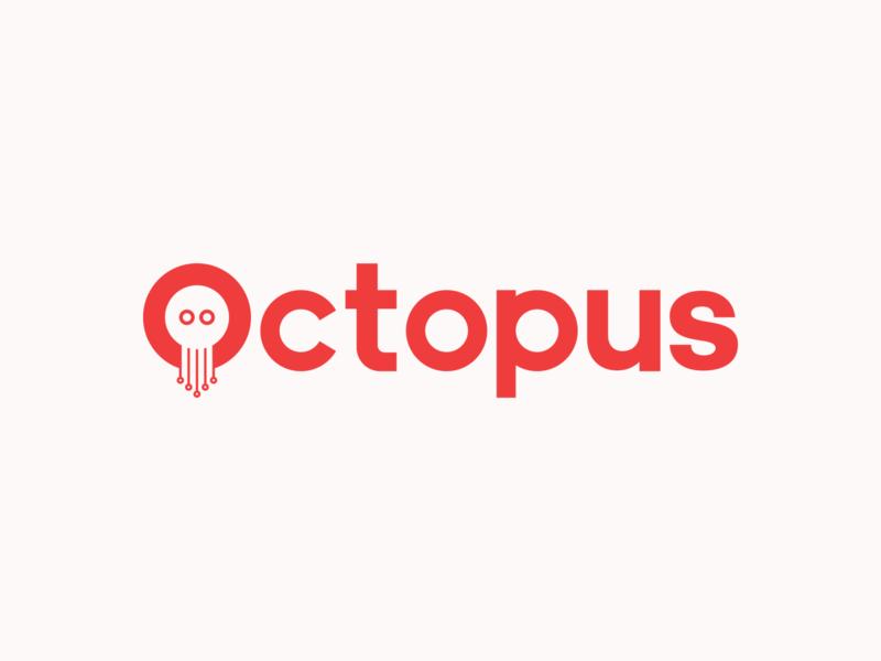 Octopus Logo Design typographic negative space simple colors red clean design typeface branding minimal identity brand type logo
